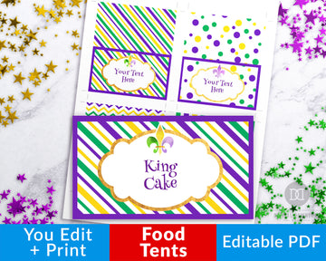 Mardi Gras Food Tents Printable Editable