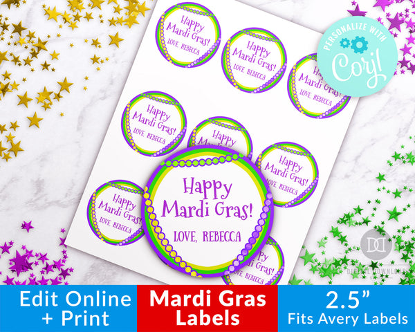 Mardi Gras Labels Printable Template- Beads
