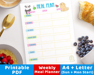Weekly Meal Planner Printable- Characters