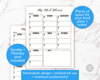 Meal Planner + Grocery List Printable- Black + White