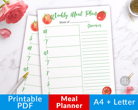Meal planner template printable with grocery list and watercolor tomato graphics! Let this menu planner help you plan your meals for the week, which will save you time, stress, and money!
