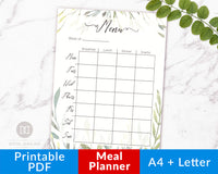 Meal Planner Printable- Watercolor Greenery