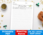 Meeting Notes Template Printable