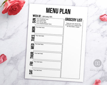 Free Printable Menu Planner Editable - Black and White