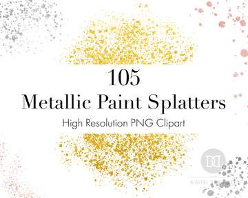 Metallic Paint Splatters Clipart Bundle