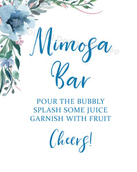 Mimosa Bar Printable- Blue- The Digital Download Shop
