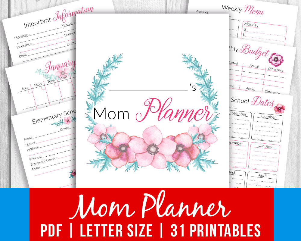 image regarding Mom Planner Printable named Mother Planner Printable- Watercolor Florals