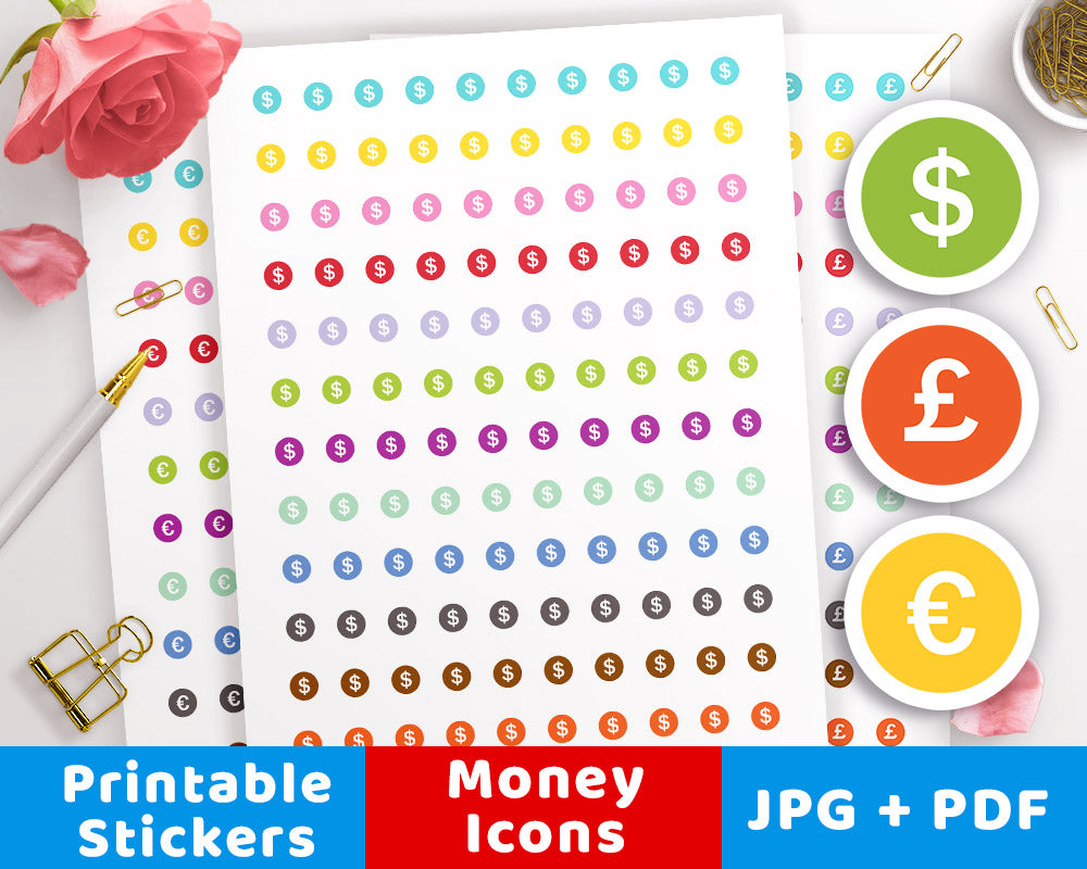 photograph about Circle Printable Stickers identify Monetary Icon Printable Planner Stickers