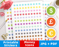 Money Icon Printable Planner Stickers