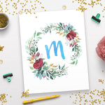 Watercolor Floral Wreath Monogram Printable- Blue