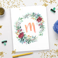 Watercolor Floral Wreath Monogram Printable- Peach