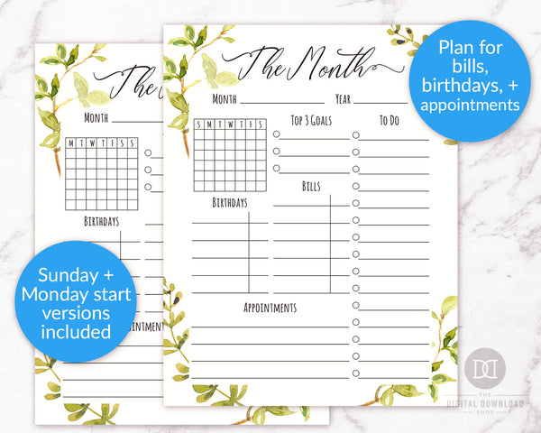 Month at a Glance Printable- This beautiful watercolor printable monthly planner has everything you need to plan the perfect month! It even includes spaces to plan for bills and birthdays! | monthly organizer, month on one page, undated planner printable, #planner #printable #DigitalDownloadShop