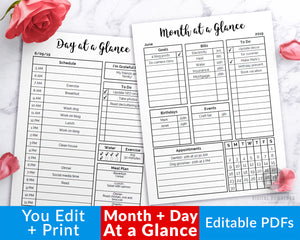 Month at a glance + day at a glance editable printables! These editable planner pages are the perfect way to get your days and months organized!