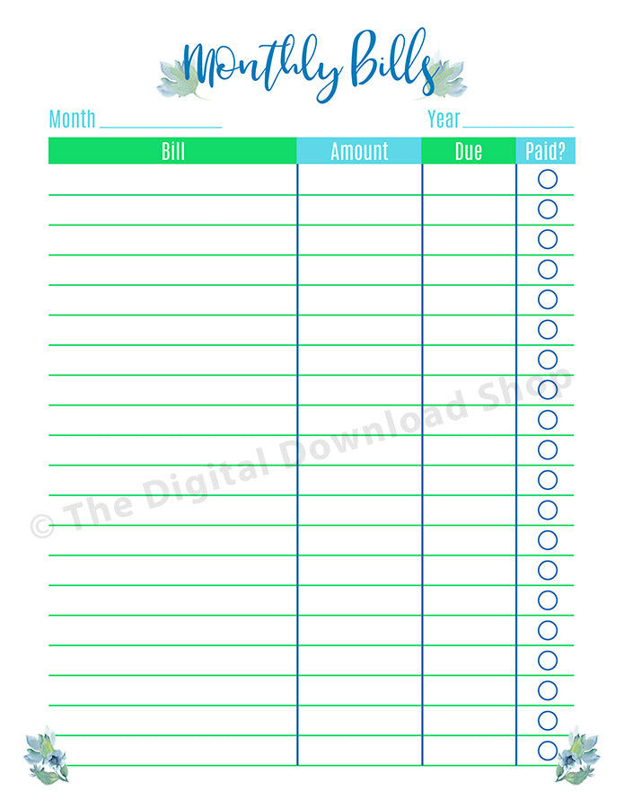 Dashing image regarding free printable bill tracker