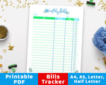 Monthly Bill Tracker Printable- Floral