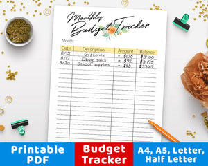 Monthly Budget Tracker Printable- Floral Watercolor- The Digital Download Shop
