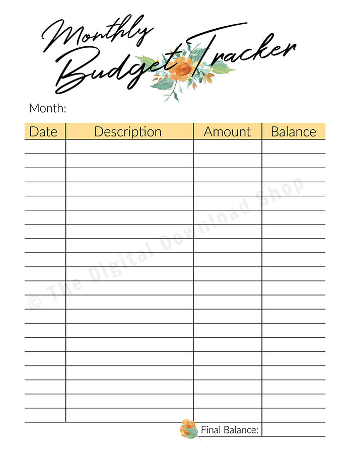 image relating to Budget Tracker Printable identified as Regular monthly Price range Tracker Printable- Floral Watercolor
