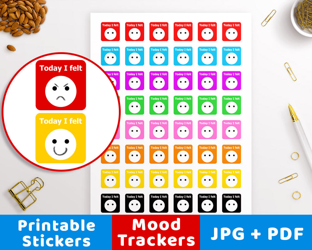 Mood Tracker Printable Planner Stickers