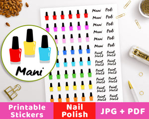 Nail Polish Printable Planner Stickers