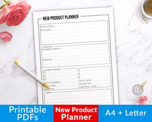 New product planner printable with a minimalist black and white design. Use product idea template printable to help you plan out your next product, and pick the perfect price!