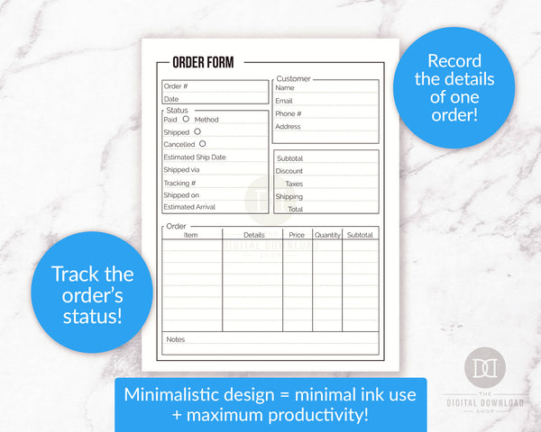 Order form + order tracker printables with minimalist black and white designs. Use these printable order form templates to keep track of your orders and their current statuses.