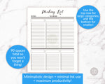 This blank travel checklist contains a total of 90 spaces for you to perfectly customize to your trip's needs.