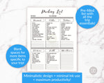 This pre-filled travel checklist contains the most common items needed for a trip to a different country, with space for you to add more items specific to your trip.