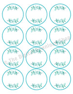 "Printable Pantry Labels 2.5"" Circles- Watercolor Leaf"