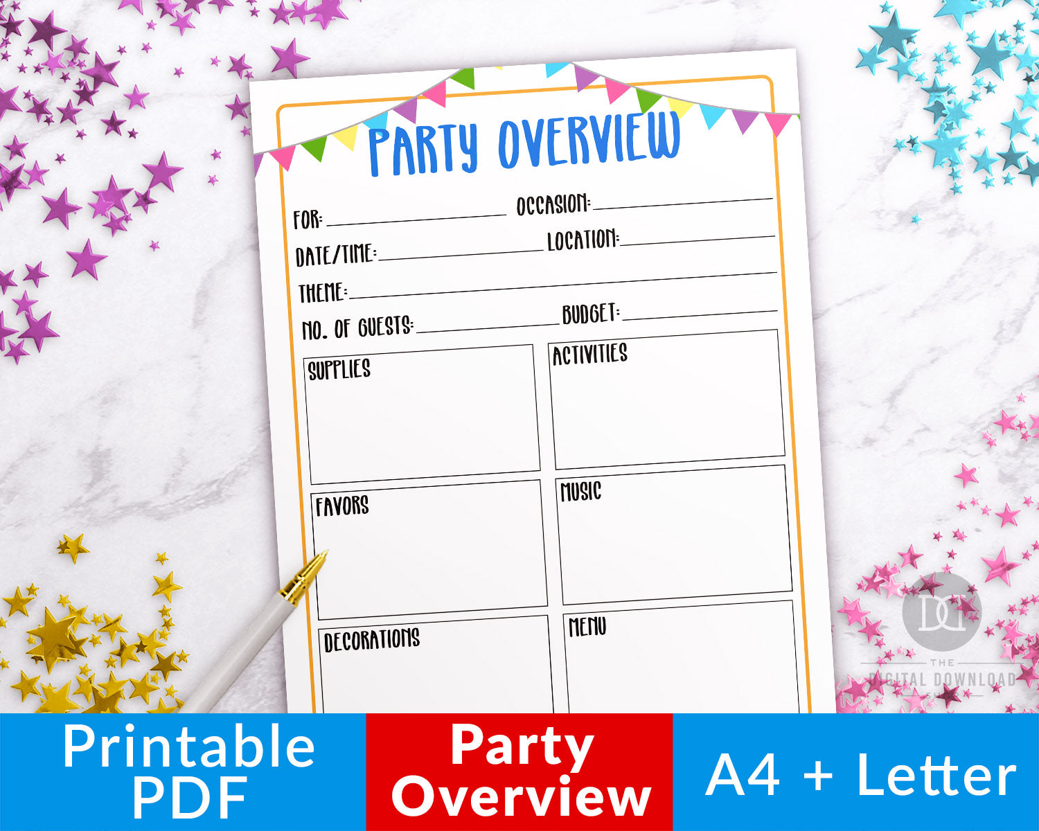 Party planner printable overview, perfect for birthday party planning, anniversary party planning, graduation party planning, and more!