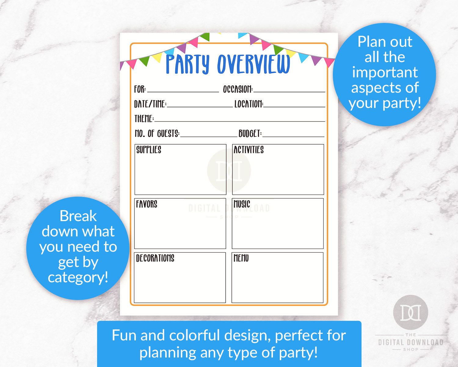 photo relating to Party Planner Printable named Occasion Planner Printable- Assessment The Electronic Down load Retail outlet