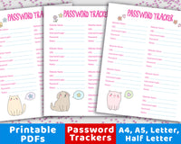 3 Password Tracker Printables- Animals