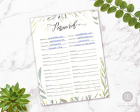 Password Log Printable- Watercolor Greenery