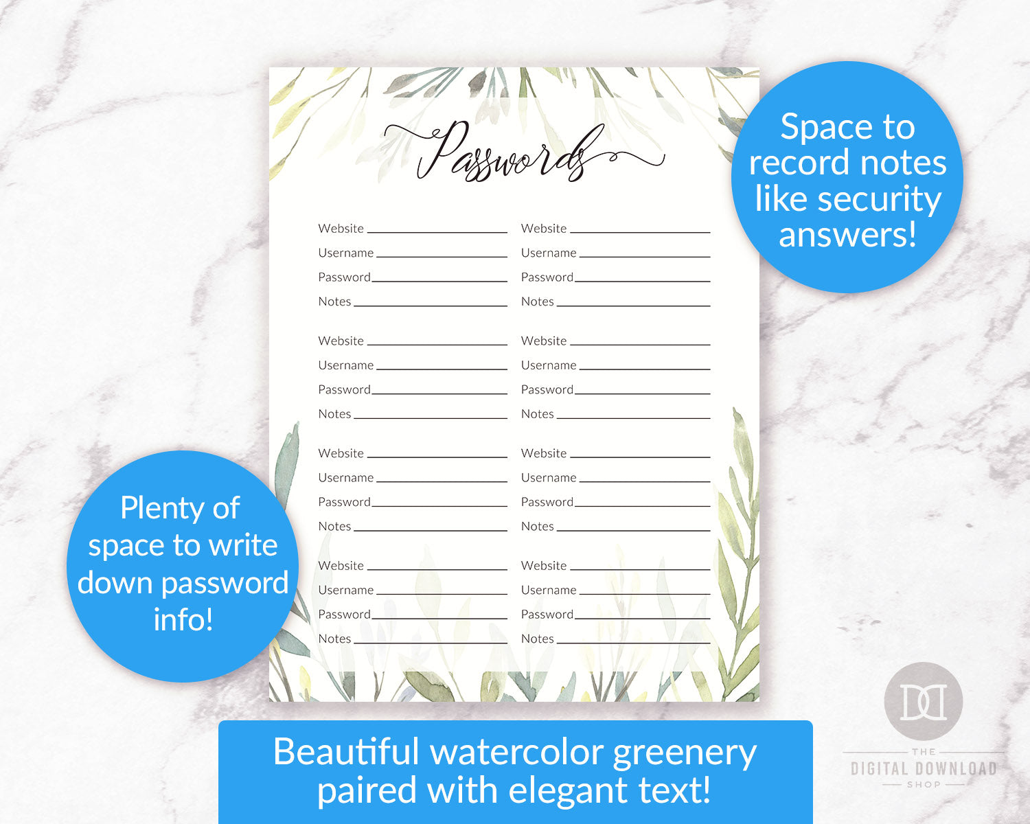 picture about Password Tracker Printable named Pword Log Printable- Watercolor Greenery The Electronic