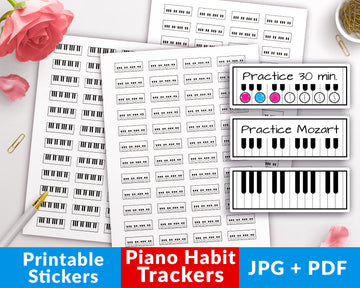 Piano Habit Tracker Printable Planner Stickers