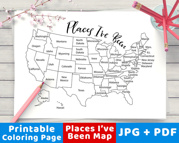 Places I've Been Map Coloring Page Printable