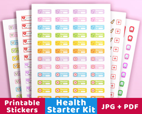 Planner Starter Kit- Health Stickers - The Digital Download Shop