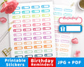 2 Birthday Reminder Printable Planner Stickers