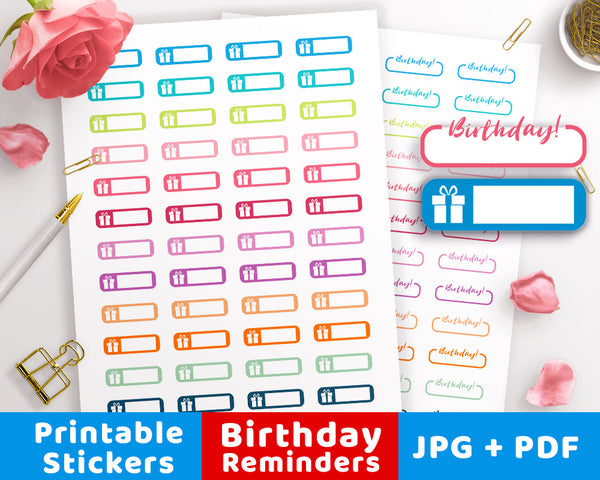 2 Birthday Reminder Printable Planner Stickers- The Digital Download Shop