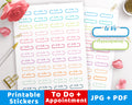 To Do +Appointment Printable Planner Stickers