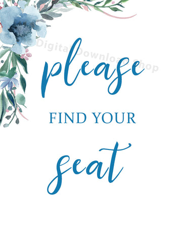Please Find Your Seat Wedding Printable- Blue
