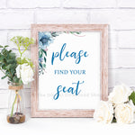 Please Find Your Seat Wedding Printable- Blue- The Digital Download Shop
