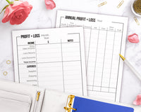 2 profit and loss statement printables- 1 yearly template + 1 monthly template.