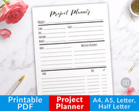 Project Planner Printable- Productivity Planner Printable