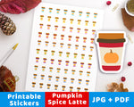 Pumpkin Spice Latte Printable Planner Stickers- The Digital Download Shop