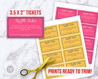 Raffle Ticket Editable Template- Choose Your Own Colors