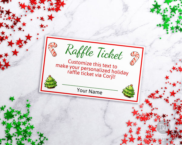 Raffle Ticket Template Christmas Editable