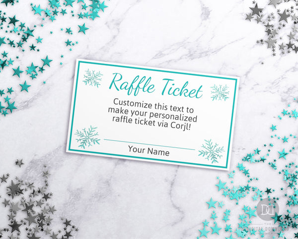 Winter Raffle Ticket Template Editable Printable
