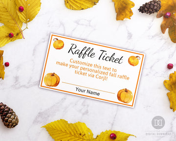 Fall Raffle Ticket Template Editable Printable *EDIT ONLINE*