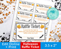 Halloween Raffle Ticket Template Editable Printable *EDIT ONLINE*