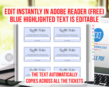 Raffle Ticket Template Editable Printable- Black and White
